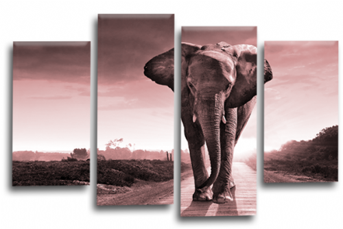 Sunset African Elephant Pink Grey Wall Art Picture Print Split Panel